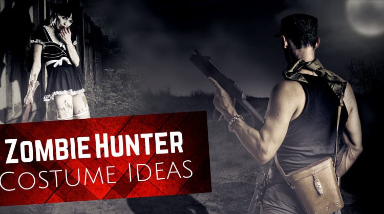 Feature image showing a zombie hunter holding a gun, ready to face off against a zombie lady